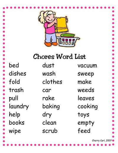 chore list for kids to get help